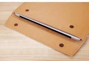 "Laptop PU Leather Envelope Sleeve Case For MacBook 13.3"",15.4"",11"" - Vertical Khaki"