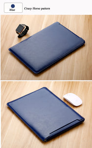 Laptop Sleeve case PU Leather bag for 11 12 13 15.4 15.6 - Navy