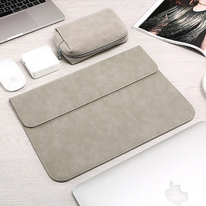 Macbook / Surface Laptop Sleeve - Leather Collection - Grey Leather