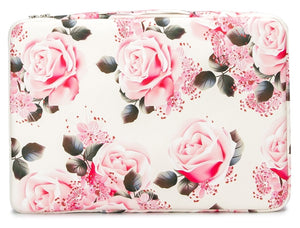 Laptop 13 - 13.3 inch Sleeve Case Waterproof Canvas with Pocket - White Pink Roses