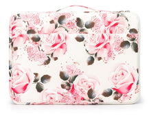 Load image into Gallery viewer, Laptop 13 - 13.3 inch Sleeve Case Waterproof Canvas with Pocket - White Pink Roses