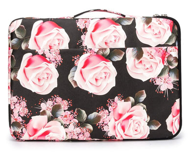 Laptop Sleeve Case Waterproof Canvas with Pocket - Roses