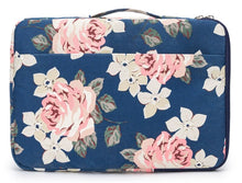 Load image into Gallery viewer, Laptop 13 - 13.3 inch Sleeve Case Waterproof Canvas with Pocket - Navy Pink Roses