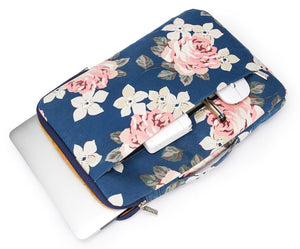 Laptop 13 - 13.3 inch Sleeve Case Waterproof Canvas with Pocket - Navy Pink Roses