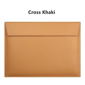 "Laptop PU Leather Envelope Sleeve Case For MacBook 13.3"",15.4"",11"" - Cross Khaki"