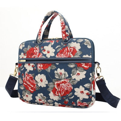 Laptop Canvas Sleeve Shoulder Messenger Bag Case for 12/ 13/14/15 Inch - Dark Green Roses
