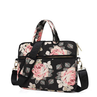 Laptop Canvas Sleeve Shoulder Messenger Bag Case for 12/ 13/14/15 Inch - Black Roses