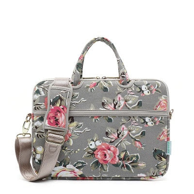 Laptop Canvas Sleeve Shoulder Messenger Bag Case for 12/ 13/14/15 Inch - Dark Grey Roses