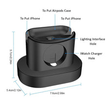 Load image into Gallery viewer, 3 in 1 Charging Dock Station for AirPods Case+iWatch+iPhone Charger - Black