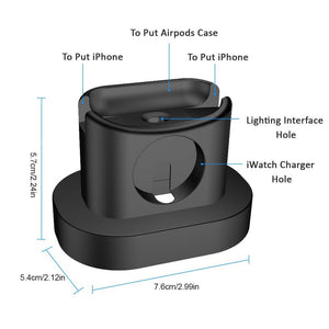 3 in 1 Charging Dock Station for AirPods Case+iWatch+iPhone Charger - White