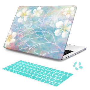 Macbook Case Bundle - Macbook Case and Keyboard Cover - Floral Collection - Mist Floral