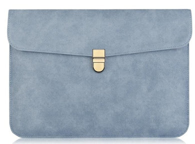 Laptop Sleeve - Leather Collection - 13 inch - Denim Blue Horizontal with Clasp