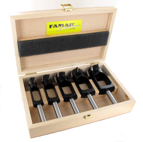 Disc + Plug Cutter Set 5 pcs. in Wooden Case (Famag)
