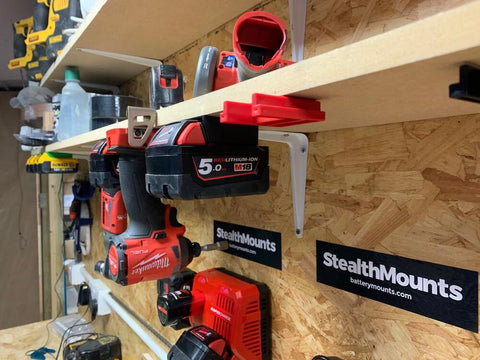 Tool Mounts for Milwaukee M18 - 4 x pack (StealthMounts)