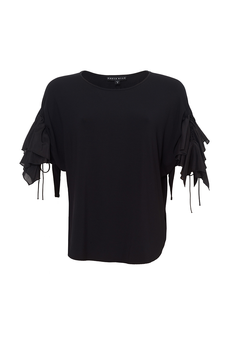 DRAWCORD FRILLED SLEEVE EF TOP