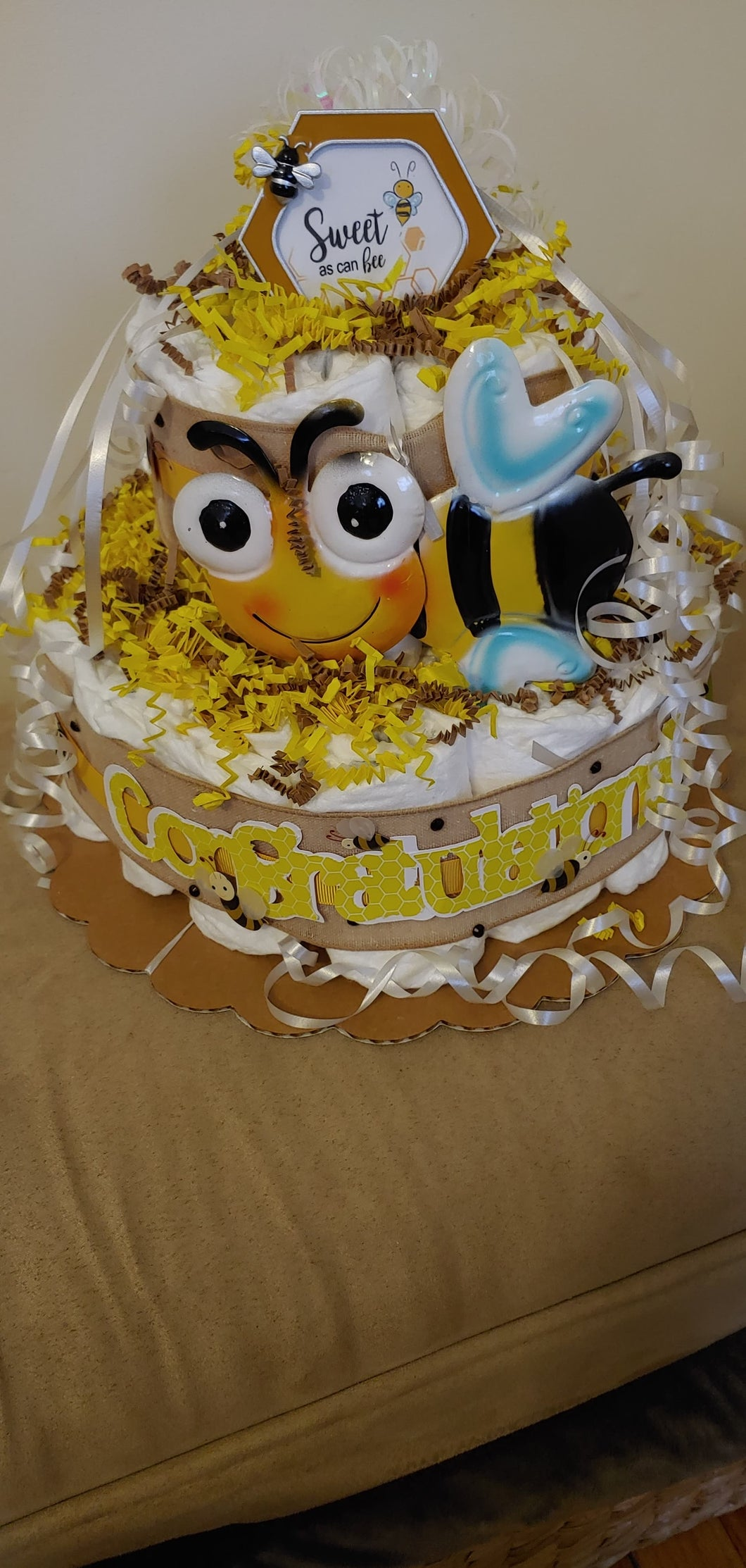 bumble bee diaper cake