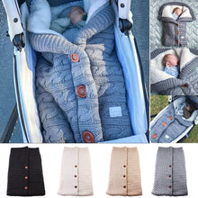 Charger l'image dans la galerie, Newborn Baby Winter Warm Sleeping Bags Infant Button Knit Swaddle Wrap Swaddling Stroller Wrap Toddler Blanket Sleeping Bags