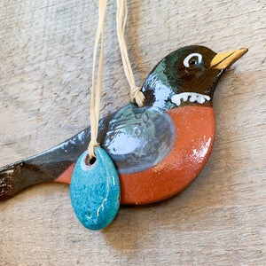 Robin with Egg Ornament