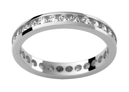 Ladies 18ct White Gold Diamond set Wedding Ring TBJD143