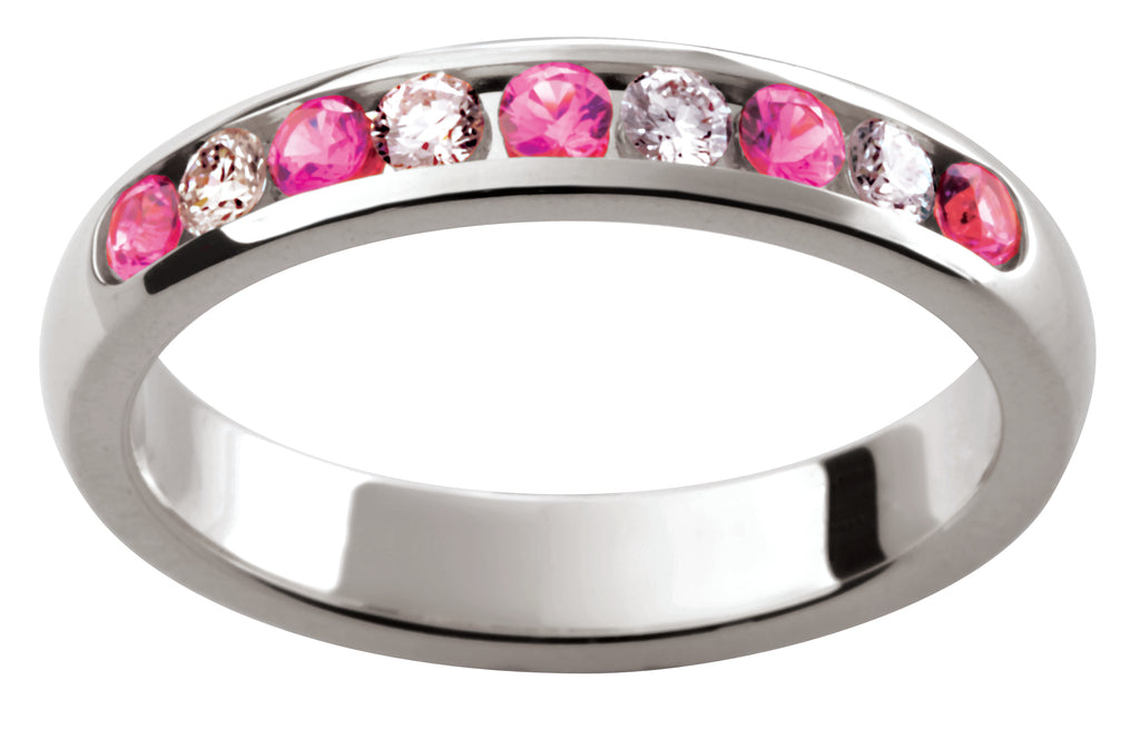 Ladies 18ct White Gold Pink Sapphire and Diamond Wedding Ring TBJD153-5pt
