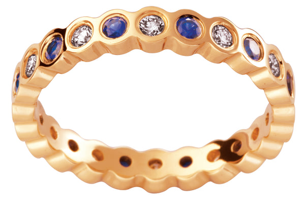 Ladies 18ct Yellow Gold Blue Sapphire Diamond Wedding Ring TBJD200-3pt