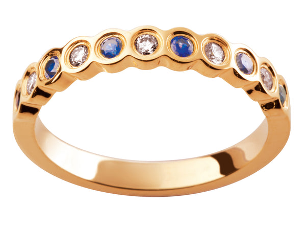 Ladies 18ct Yellow Gold Blue Sapphire Diamond Wedding Ring TBJD204-3pt