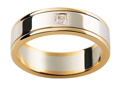 Gents 9ct Gold Wedding Ring Diamond set TBJD40