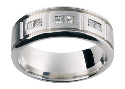 Gents 9ct White Gold Wedding Ring TBJDJ52