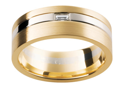 Gents 9ct Gold Wedding Ring with Diamond TBJDJ61