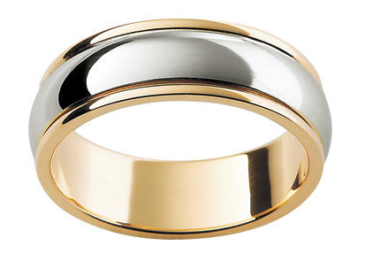 Gents White Gold Titanium/9ct Wedding Ring TBJF17