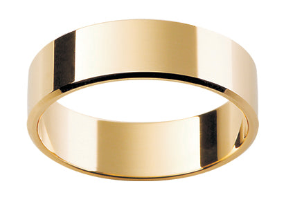 Gents 9ct Flat Bevelled Gold Wedding Ring.