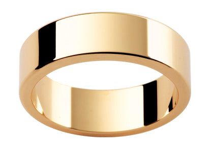 Gents 9ct Flat Full Rounded Edge Gold Wedding Ring TBJLRE