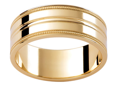 Gents 9ct Patterned Gold Wedding Ring TBJP1