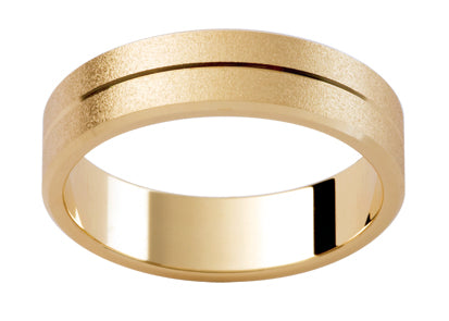 Gents 9ct Patterned Gold Wedding Ring TBJP113