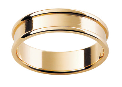 Gents 9ct Patterned Gold Wedding Ring TBJP175