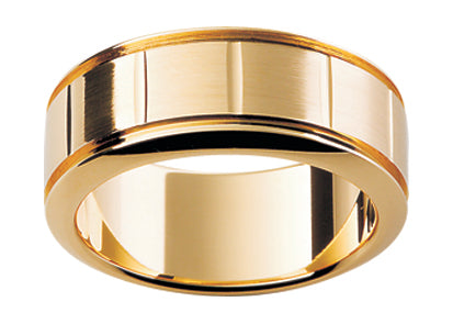 Gents 9ct Patterned Gold Wedding Ring TBJP215