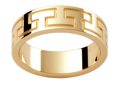 Gents 9ct Patterned Gold Wedding Ring TBJP273B