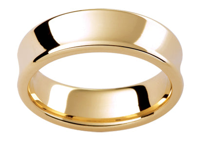 Gents 9ct Flat Concave Rounded Edge Contour Gold Wedding Ring TBJPC303