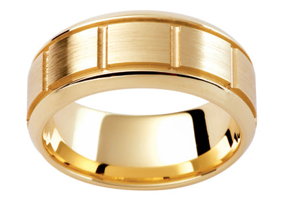 Gents 9ct Patterned Gold Wedding Ring TBJPJ291