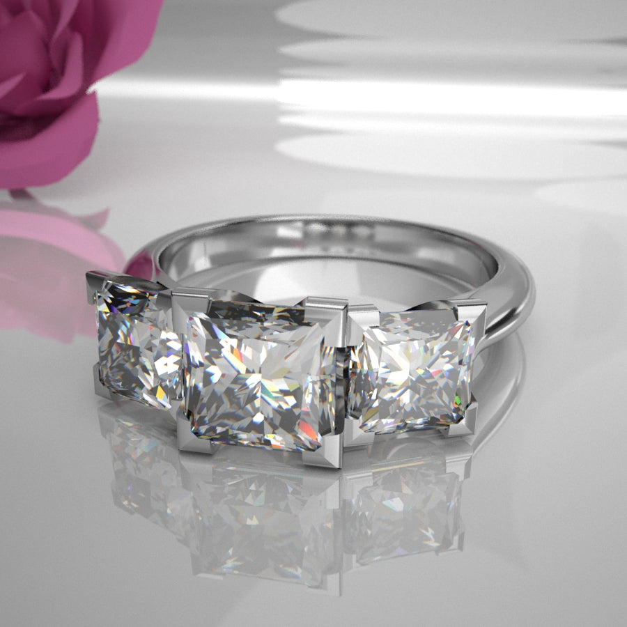 Natalia 0.50Ct Princess Diamond Centre Trilogy 021 (Total Diamond Weight 1.16ct)