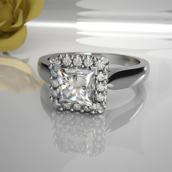 Taisie 0.50ct Princess Centre Halo 027 (Total Diamond Weight .70ct)