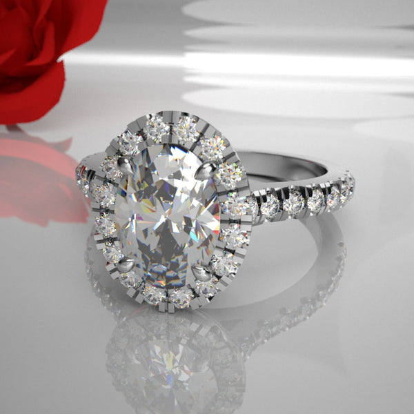 Zabrina 035 0.50ct Oval Centre Halo 035 (Total Diamond Weight .92ct)