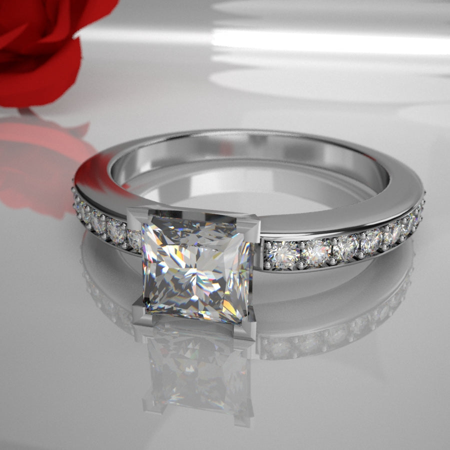Zafira 038 0.50ct Princess Diamond (Total Diamond Weight .77ct)