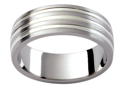 Gents Titanium / White Gold Wedding Ring TBJTi13B