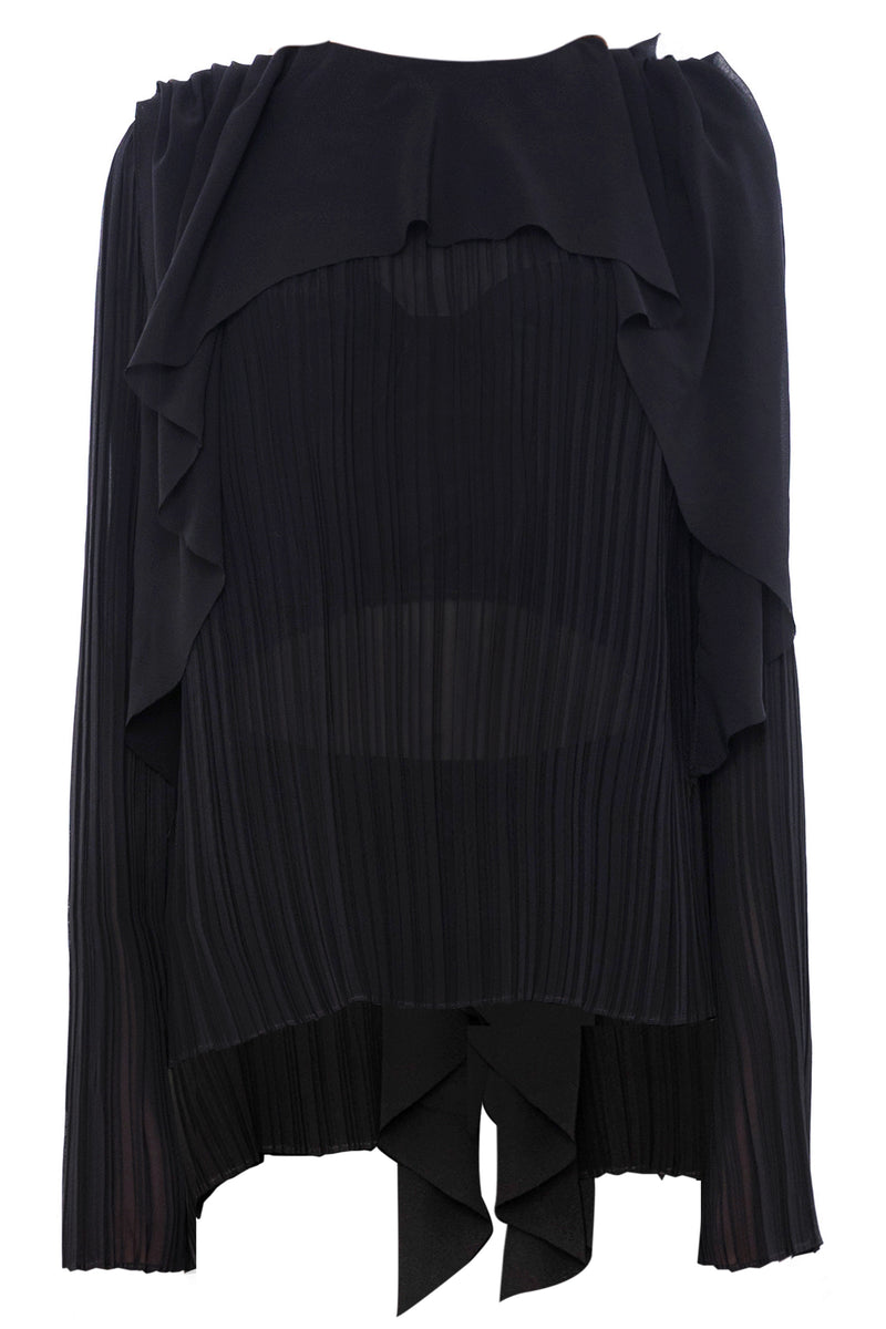 BLACK CRUSH PLEAT BLOUSE