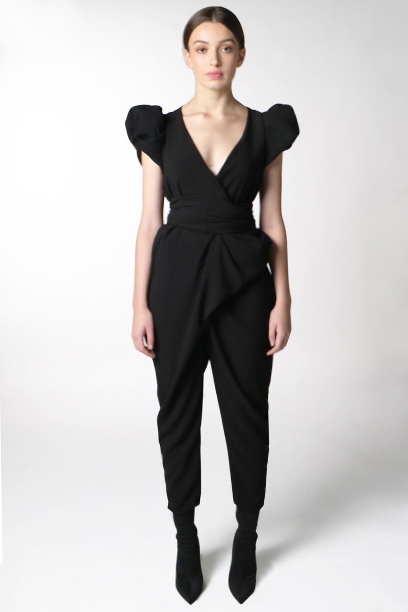 BLACK PUFF SLEEVE WRAP JUMPSUIT