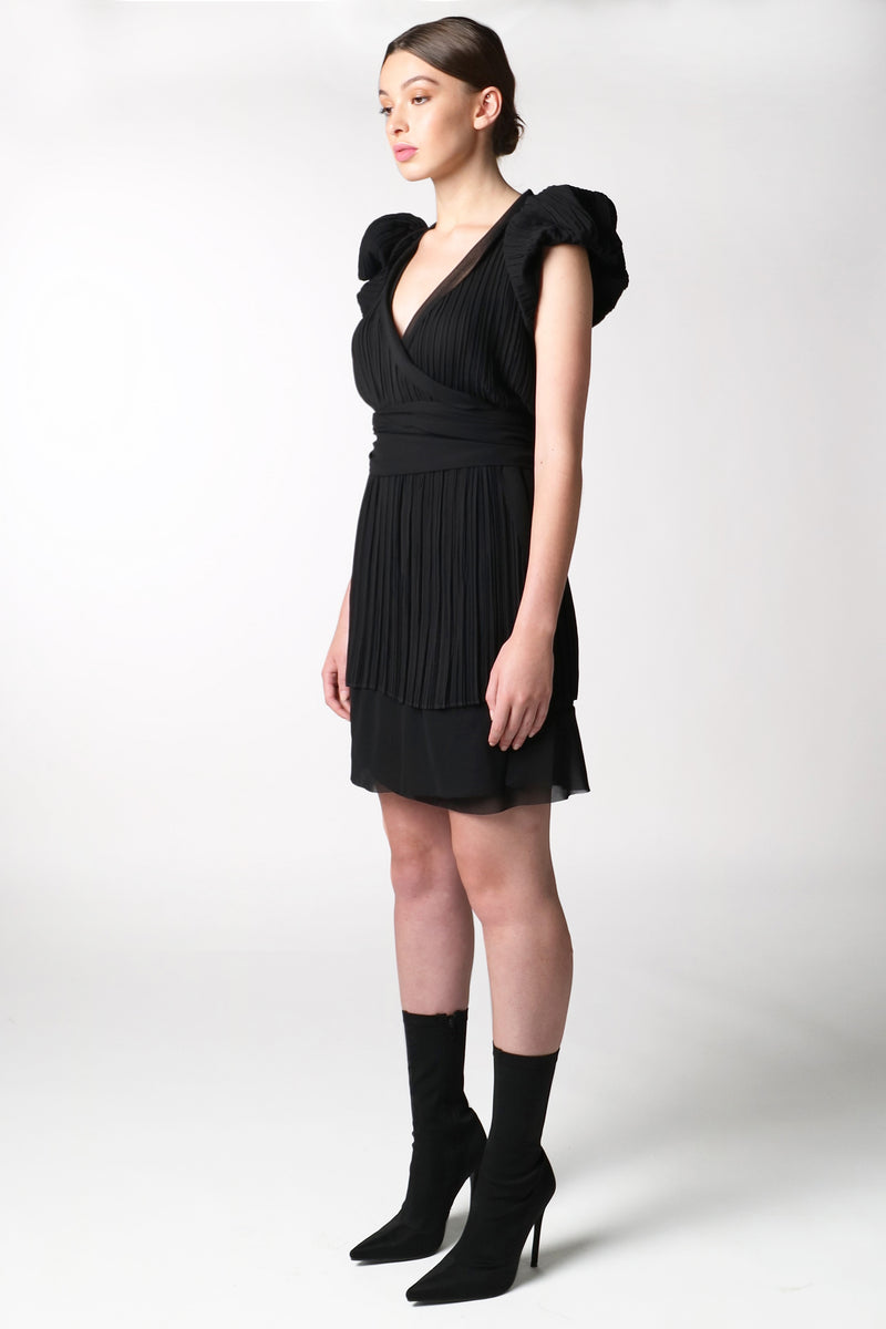 BLACK PUFF SLEEVE WRAP DRESS