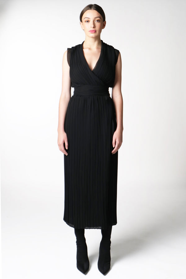 BLACK PLEAT WRAP DRESS
