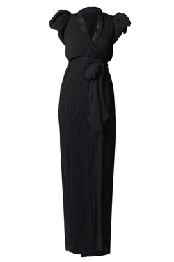 BLACK PUFF SLEEVE WRAP GOWN