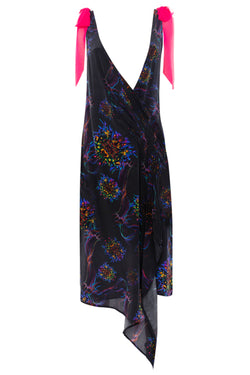 BRAINBOW PRINT DRAPE BOW DRESS